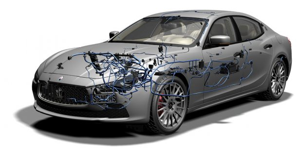 Electrical Wire Harness design for Maserati Ghibli. Image courtesy of Siemens PLM Software.