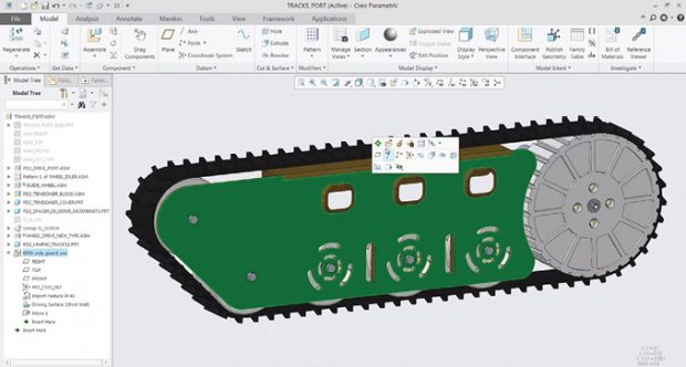 PTC Creo 5.0 features a modern interface, with a contextual ribbon and mini toolbars. Images courtesy of David Cohn.
