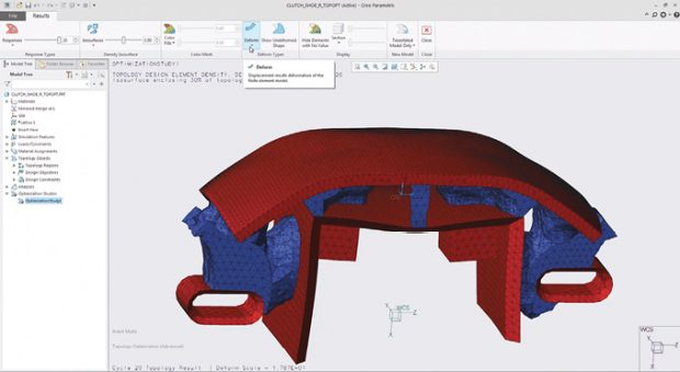 Topology optimization automates the creation of optimized parts, creating the right design based on objectives and constraints.