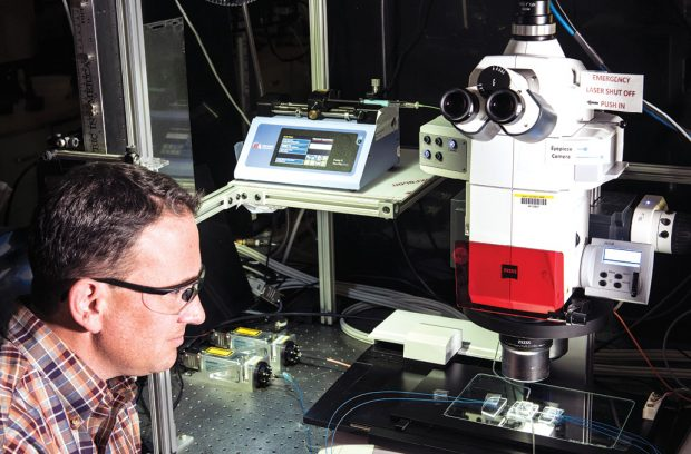 Measuring nanofilter flow rates. Image courtesy of NIST.
