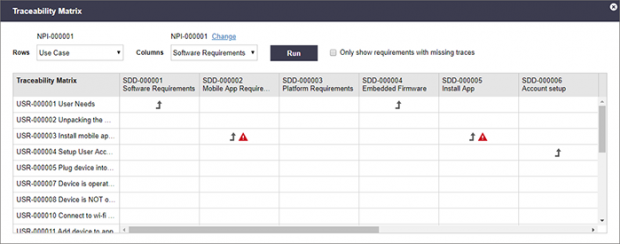 Arena Requirements Management links design inputs with design outputs. Shown here is an example of a traceability matrix indicating which requirements have missing traces. Image courtesy of Arena Solutions Inc.