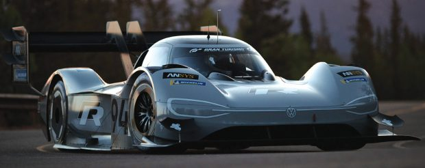 Volkswagen's first fully electric race car, the I.D. R Pikes Peak, which was developed with ANSYS simulation solutions, shattered the time record at the Pikes Peak International Hill Climb. Image courtesy of ANSYS.