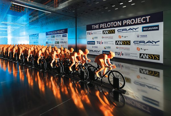 Researchers from Eindhoven University of Technology (The Netherlands) and KU Leuven (Belgium) ran wind tunnel tests on the mockup of a peloton in race. Images courtesy of Professor Bert Blocken and ANSYS.