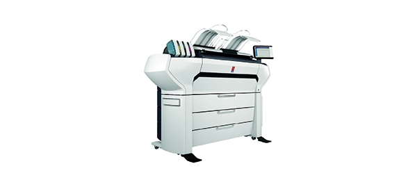 The Océ ColorWave 3700 large-format color and monochrome print, scan and copy system can be equipped to support as many as six media rolls (42-in. width and 656 ft. total length). Image courtesy of Canon U.S.A. Inc.
