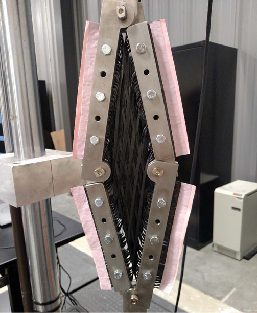 DuPont's Rapid Fabric Formation technology deploying Fibrflex at high shear angles. Image courtesy of the Institute for Advanced Composites Manufacturing Innovation.