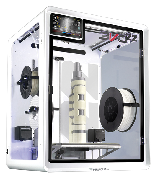 The EVO 22 Large 3D Printer/Additive Manufacturing Center has a 22.75-in. build height and will work with more than 40 different engineering grade materials, including carbon fiber-reinforced nylon and high-temperature thermoplastics. Image courtesy of Airwolf 3D Printers.
