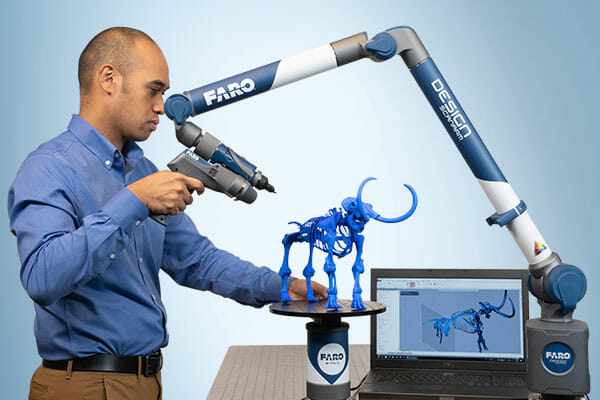 A portable, turnkey 3D scan-to-CAD solution, the new FARO Design ScanArm 2.5C 8-axis articulated arm-based system comes out-of-the-box with high-resolution, 3D color scanning capabilities. Image courtesy of Faro Technologies Inc.