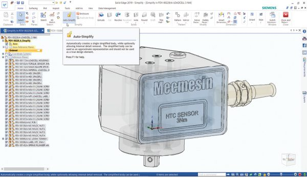 Solid Edge 2019 retains its clean, intuitive interface. A new auto-simplify tool can reduce parts to a geometric lump representing their external shape. Images courtesy of Siemens PLM Software.