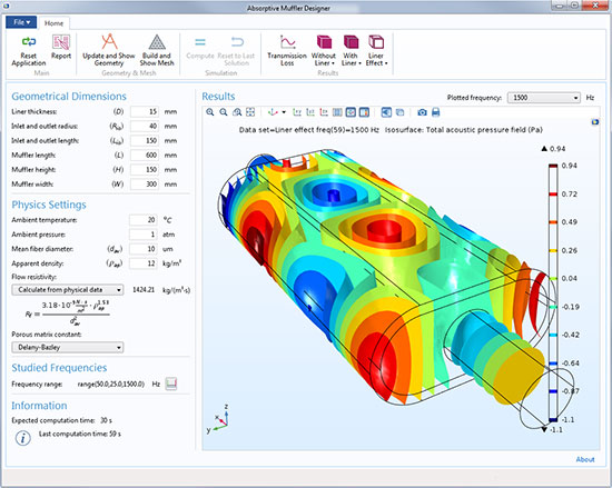 A simulation app made to run on COMSOL Multiphysics software. The app allows users to calculate the transmission loss and acoustic pressure in an absorptive muffler for automotive use. Images courtesy of COMSOL.
