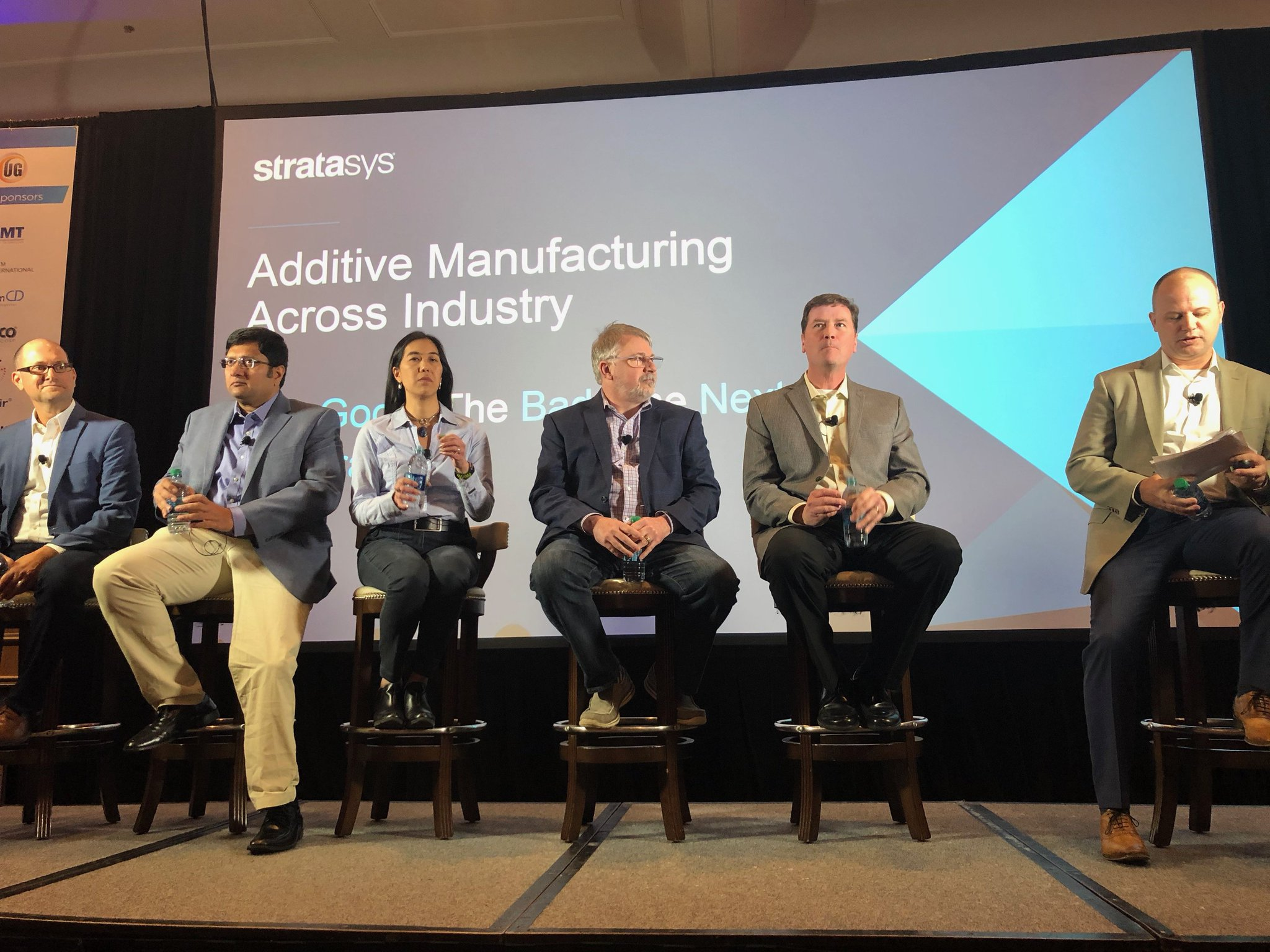 Panelist from Siemens PLM Software, Johnson & Johnson, Ford, FedEx and Boeing join the Stratasys additive manufacturing panel at AMUG 2018.