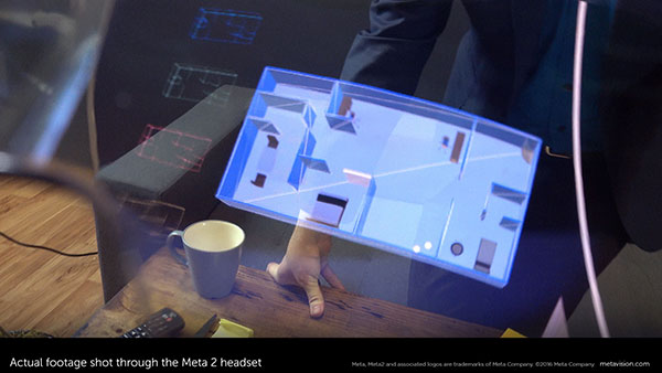 Meta's AR setup lets you view digital content as holograph-like objects inside the real world view. Image courtesy of Meta.