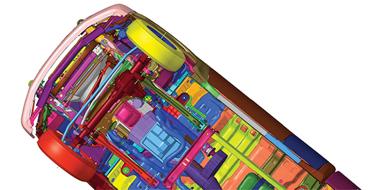 Numerous options are available in Altair HyperMesh to manage complex assemblies. Image courtesy of Altair.