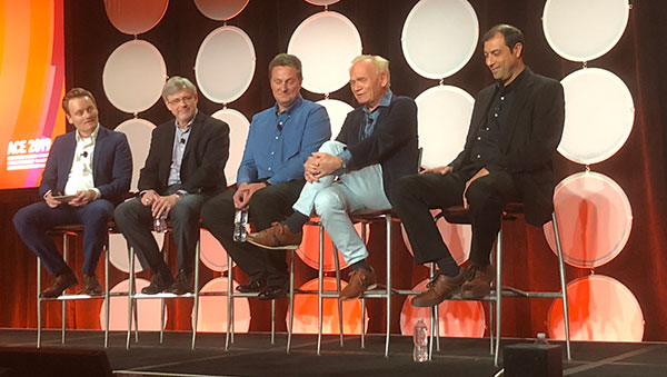 The Systems Thinking panel at ACE 2019 from left to right: Moderator Michael Pfenning, Aras; Stephen Denman, Sandia National Labs; Boris Cononetz, Jr., Microsoft; Martin Eigner, University of Kaiserslautern and consultant; and Malcolm Panthaki, founder of Comet Solutions, which Aras acquired last year.