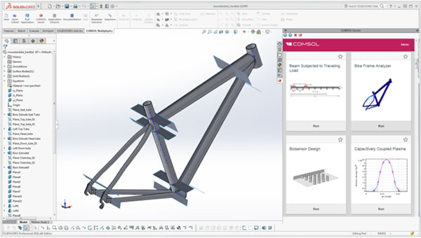 The COMSOL Multiphysics ribbon tab and embedded COMSOL Server interface in the SOLIDWORKS user interface. Image courtesy of COMSOL.