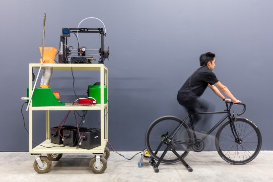 While working on a senior capstone research project, the Closed Loop Plastics team demonstrated a bicycle-powered 3D printing system that included recycling polystyrene post-consumer plastic into filament.