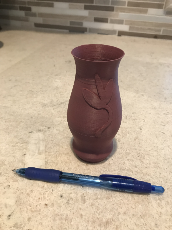 Sample vase 3D printed without supports. Image courtesy Pamela Waterman.