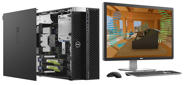 Dell Precision workstations can be configured with NVIDIA GPUs to speed many design engineering tasks, such as simulation and rendering. Image courtesy of Dell.
