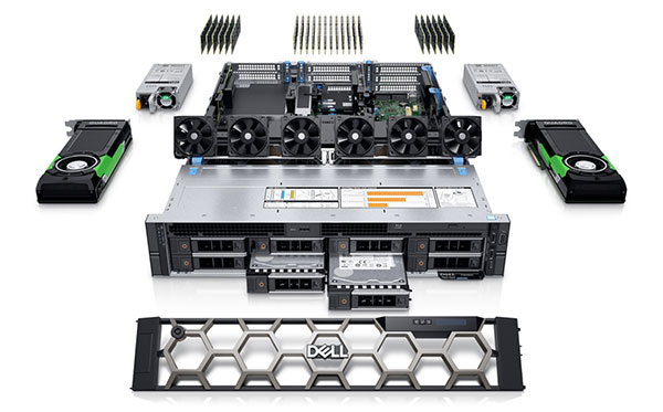 The Dell Precision 7920 rack-mounted workstation The system can support up to 3TB of memory, eight hard drives and three graphics boards. Image courtesy of Dell.