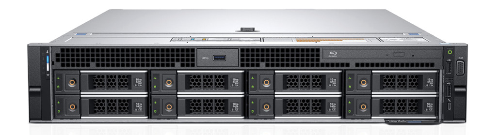 The Dell Precision 7920 is a 2U form-factor rack-mount workstation, with up to eight front panel hot-swappable drives. Image courtesy of Dell.