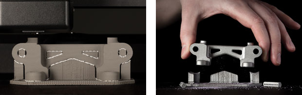 Desktop Metal's proprietary separable supports make it possible to remove support structures by hand. Images courtesy of Desktop Metal.