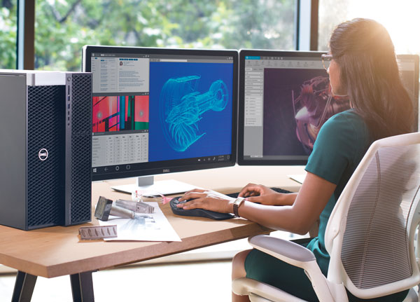 The Dell Precision 7920 Tower can be configured with multiple NVIDIA Quadro GV100 graphics processing units. Image courtesy of Dell.