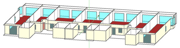 Figure 1: Three-dimensional visualization of the investigated hygrothermal simulation building model. Image courtesy of UberCloud.