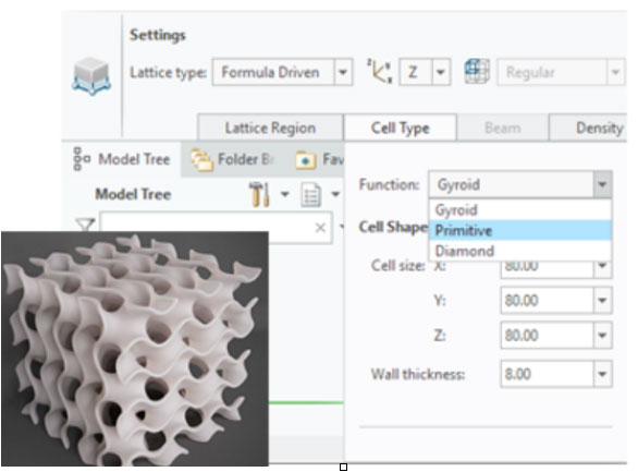 Gyroid lattice cells, supported in Creo 6.0, minimize the need for support structures in 3D printed models. Image courtesy of PTC.