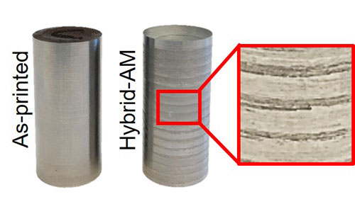 Samples of 420 stainless steel built on an Optomec LENS Hybrid Controlled Atmosphere AM system, with and without laser-peening between layers to create tailored residual stresses. Image courtesy University of Nebraska-Lincoln.