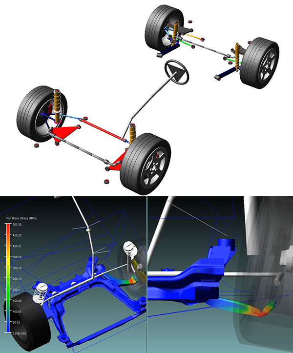 One example of the evolution of simulation complexity can be found in the auto industry, which has increased the complexity of simulating rigid multibody dynamic suspensions (top) by representing some parts of a multibody system as full fidelity materially and geometrically nonlinear parts (bottom). Images courtesy of MSC Software.
