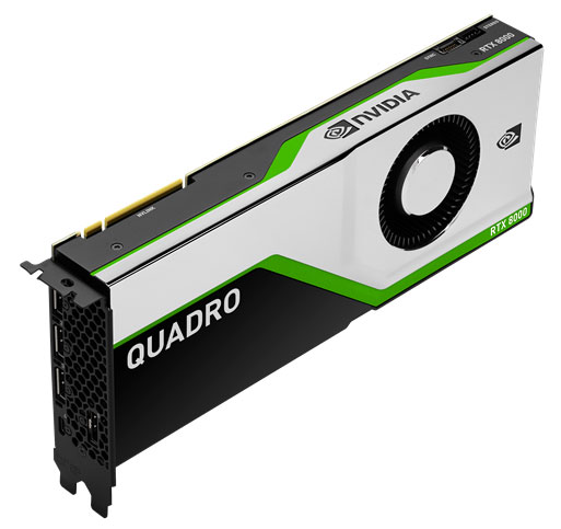 The Quadro RTX 8000 has 48GB of GDDR6 memory, scalable to 96GB with NVIDIA NVLink technology, allowing it to take on the most memory intensive workloads. Image courtesy of PNY Technologies.