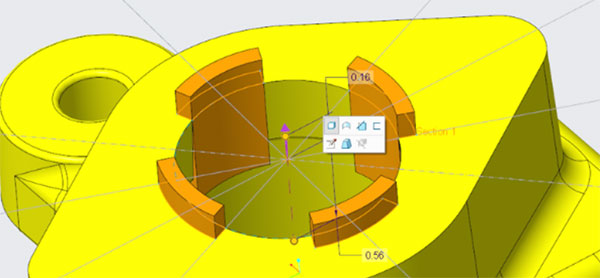 New mini-toolbars in PTC Creo 6.0 provide quick and direct in-context access to feature editing options. Image courtesy PTC.