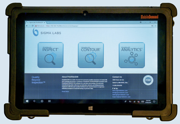PrintRite3D on ruggedized tablet: PrintRite3D software applications installed on a ruggedized Windows tablet. Image courtesy of Sigma Labs.