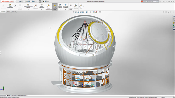 SolidWorks 2019 touts assembly performance improvements driven by GPUs. Image courtesy of Dassault Systèmes SolidWorks.