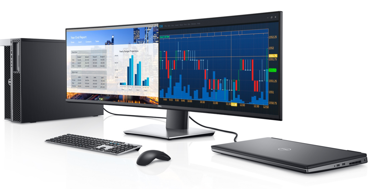 The Dell UltraSharp 49 Curved monitor features Picture-by-Picture technology that allows used to view content from two PC sources side-by-side on a single monitor screen, similar to a dual monitor setup. Image courtesy of Dell.