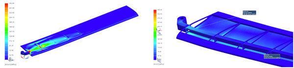 Von-Mises stress for the UAV wing. Image courtesy of Skoltech via DATADVANCE.