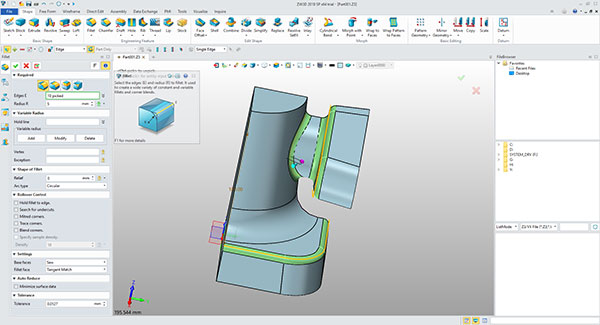 ZW3D provides a well-organized user interface that makes it relatively easy to model parts and assemblies. Image courtesy of ZWSoft via David Cohn.