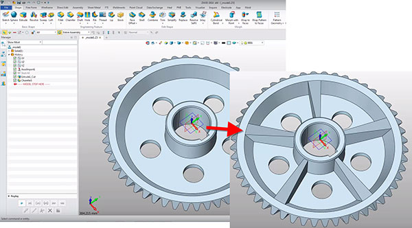 Associative import lets you update imported parts to reflect changes without losing changes made to the part in ZW3D. Image courtesy of ZWSoft via David Cohn.