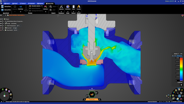 Ansys Discovery executes interaction design exploration with real-time simulation of fluid flow behavior within a flow control valve. Image Courtesy of Ansys