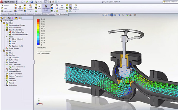 Animating flow simulation helps users understand how the fluid flows inside a domain or externally around a body. Image courtesy of Dassault Systemes SolidWorks.