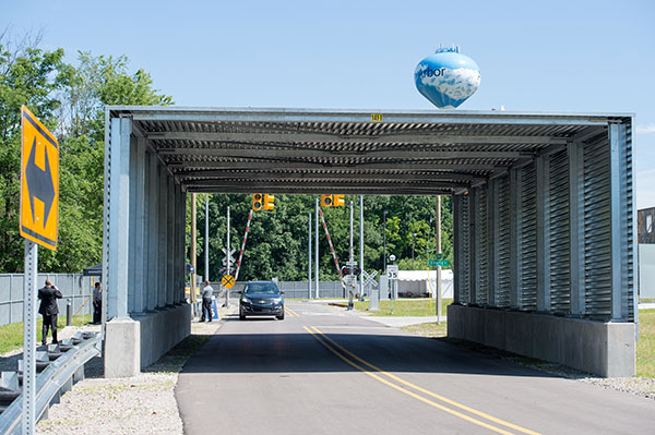 A highway overpass is simulated at Mcity by a tunnel that blocks vehicles from wireless and satellite signals. Image Courtesy of University of Michigan