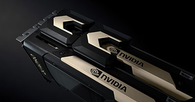 Two NVIDIA Quadro GV100 cards connected via NVLink. Image courtesy of NVIDIA.