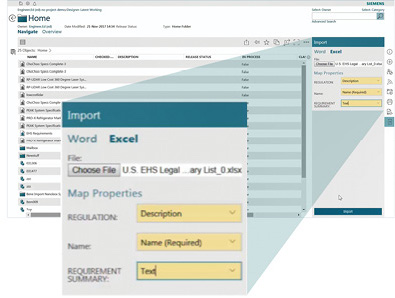 Siemens has built tight integration between the spreadsheet and PLM, including the ability to map imported Excel columns to properties in Teamcenter. Image courtesy of Siemens PLM Software.