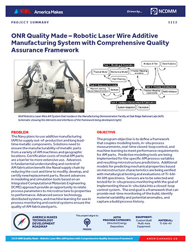 ONR Quality Made – Robotic Laser Wire Additive Manufacturing