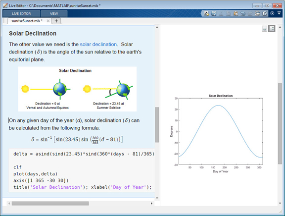 MATLAB R2016a for Creating Equation-Embedded Narratives and