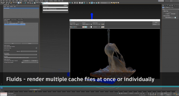 With fluids, render multiple cache files at once or individually. Images courtesy of Autodesk.