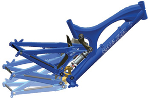 This overlay of three images of a Santa Cruz V10 bike suspension illustrates a significant amount of rear travel.